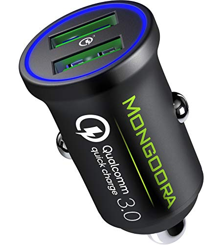 Metal Car Charger by MONGOORA - Qualcomm Quick Charge 3.0 Dual USB 6A/36W Fast Car Charger Adapter - Two Ports QC 3.0 3A - Compatible with Any iPhone - Galaxy S20 S10 S9 S8 S7 Note LG Nexus etc.