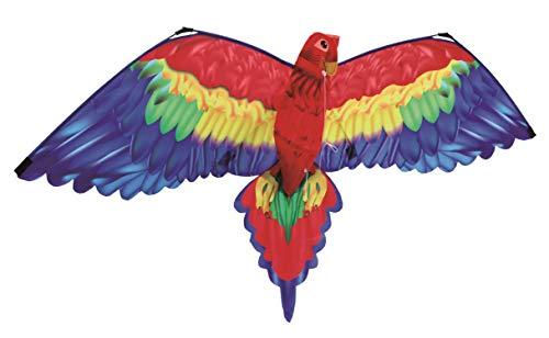 Paul Günther 1152 - 3D Drachen Papagei Cora, Einleinerdrachen mit farbenprächtigem Segel aus hochwertigem Polyester, für Kinder ab 6 Jahre, mit Schnur und Griff, ca. 144 x 80 cm groß