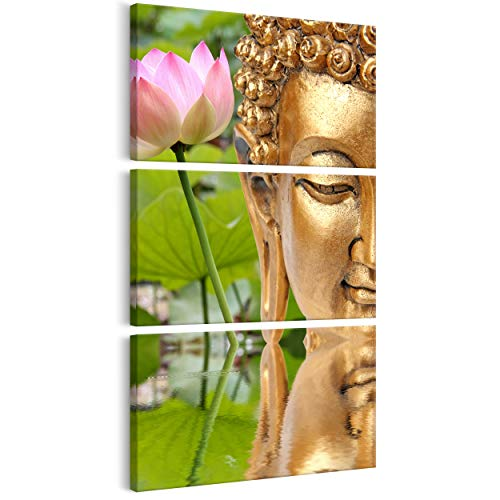 decomonkey Bilder Budda 30x60 cm 3 Teilig Leinwandbilder Bild auf Leinwand Vlies Wandbild Kunstdruck Wanddeko Wand Wohnzimmer Wanddekoration Deko Buddha Buddah Asien SPA Fengshui Lotus