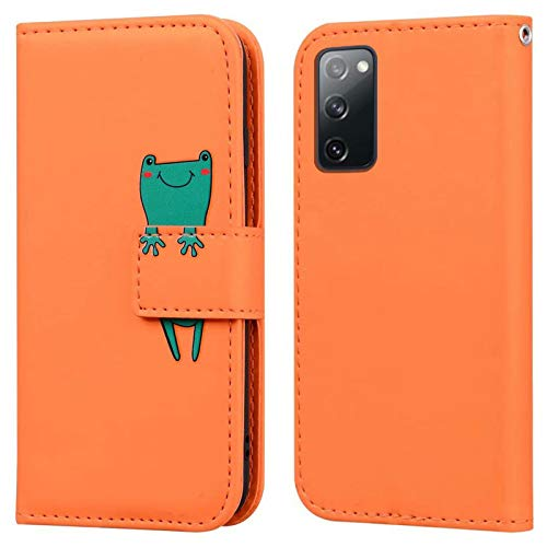 Ailisi Samsung Galaxy S20 FE 5G Hülle, Karikatur Grün Frog Muster Leder Handyhülle Brieftasche Schutzhülle Leder Flip Hülle Wallet Cover Klapphüllen Tasche Etui mit Kartenfächern+Stand -Frosch, Orange
