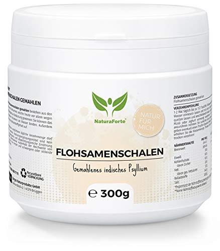 NaturaForte Cáscara de Psyllium Husk 300g - Vegano - Rico en fibra y mucílago - Sin gluten - Psyllium Husk - Superfood Low-Carb