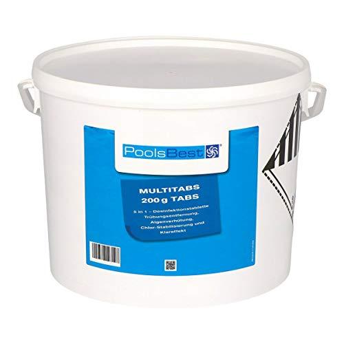 POOLSBEST® 10 kg Chlor Multitabs 5 in 1 200 g Chlortabletten für Pool - Chlor wirkt schnell gegen Bakterien, Pilze und Viren im Pool