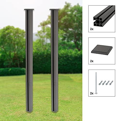ML-Design 2x Poste de WPC para Valla de Privacidad de Jardín 185 cm Gris Incliye Tornillos Anclaje al Suelo Montaje Mediante Sistema Acoplamiento Pilar Pilotes de Columna Robusto con Tapa Decorativa