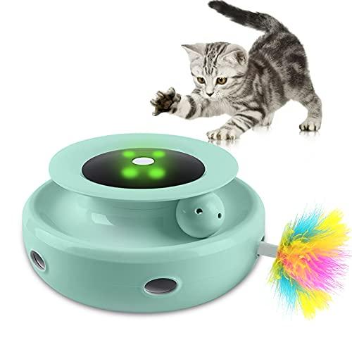 AIGOHOM Interaktives Katzenspielzeug Elektronisch Katzen Spielzeug Interaktives Federspielzeug Indoor Katzen-Teaser-Spielzeug mit Federn & Bälle, 5 Modi Plus Tag- und Nachtsensor