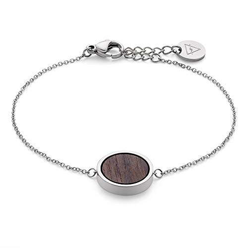 KERBHOLZ Holzschmuck – Geometrics Collection Circle Bracelet, filigranes Frauen Armband in silber mit Kreis Anhänger aus Naturholz, größenverstellbar (Armbandlänge 15 + 2,5 cm)