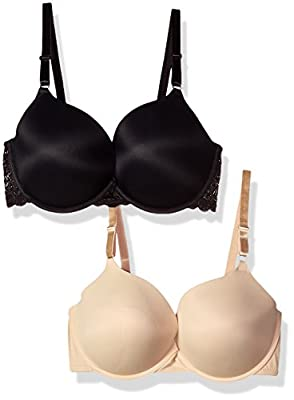 Maidenform Self Expressions Women's Lace Wing & Tailored Push Up Bra 2-Pack Bra, Latte Lift/Black with lace, 38D