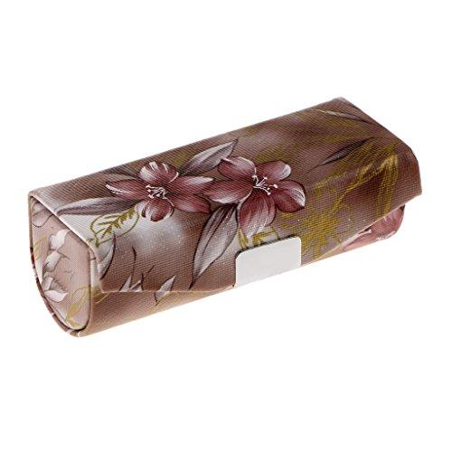 MagiDeal Lippenstiftetui Lippenstift Box mit Spiegel und Druckknopfverschluss mit Retro Blumen...