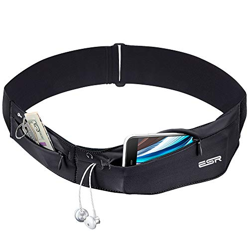 ESR Running Belt, Runners Waist Pack Adjustable Stretchy Zippered Fanny Pack with Headphone Port, Fits Most Phones, Money Belt/Phone Holder for Running, Workout, Cycling, Travelling and More, Black