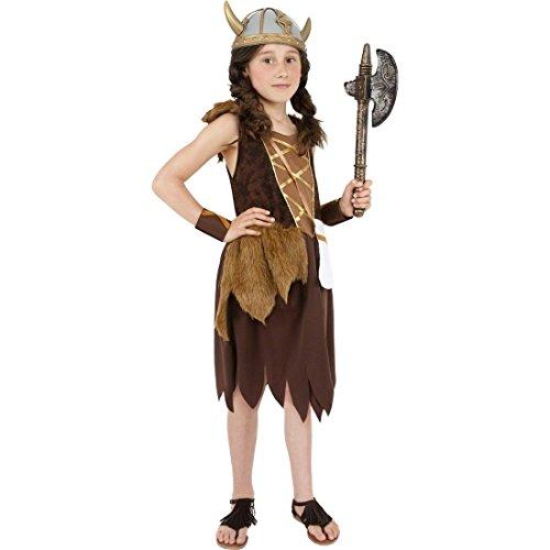 NET TOYS Kinder Kostüm Wickie Wikingerin braun L 158 cm Kinderkostüm Kriegerin Wikinger Mädchenkostüm Fasching Karneval