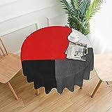 Mantel redondo lavable de poliéster de 152 cm, mantel decorativo de tela para mesa de comedor, buffet fiestas y camping, bloque geométrico rojo, gris, blanco y negro