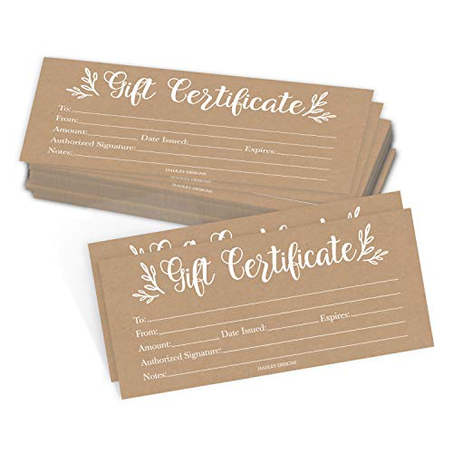25 White Rustic Blank Gift Certificates for Small Business Floral Paper Voucher for Massage Hair Nail Salon Spa Restaurants and DIY Coupon Cards for Birthday Mom Valentines Day Him Her 4x9