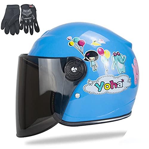QZH Casco de Moto Infantil, Casco de Bicicletas para niños, Casco Scooter con Guante de Motocicleta Childs Casquillo de Seguridad de Dibujos Animados de Peso Ligero para 3-8 años niña,Azul