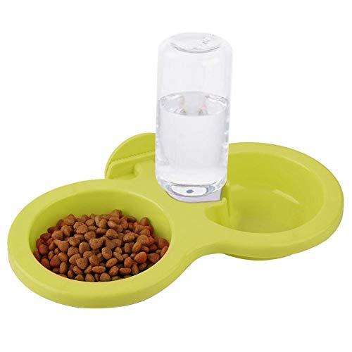 Hanging huisdier voedsel waterkom, hond kat dubbele kom met hanger automatische zwaartekracht water drinken fontein verwijderbare kleine huisdieren feeder voor kat hond puppy kratkooi, Groen