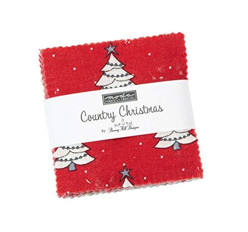 Country Christmas Moda Mini Charm Pack 42 100% Cotton 2.5' Precut Quilt Squares - Lukas Winges