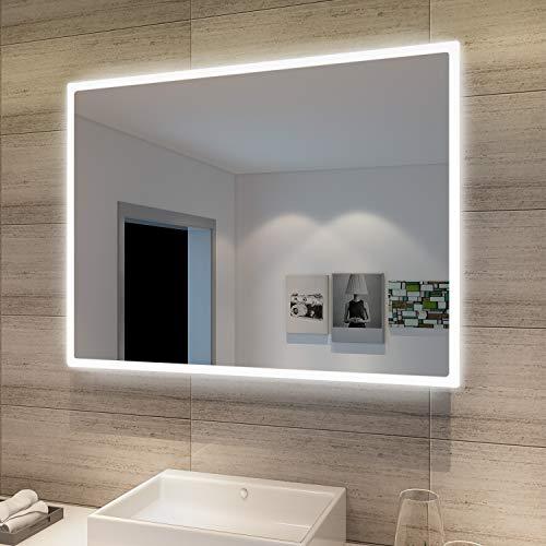 SONNI Espejo de Baño con Luz LED 80x60cm Blanco Frío IP44 Espejo de Pared de Ahorro de Energía