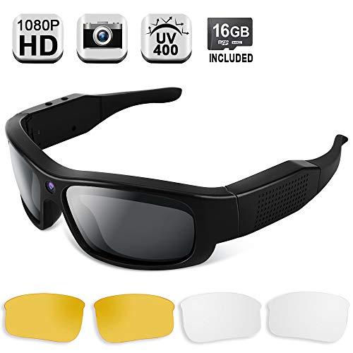 1080P HD Cámara Oculta Gafas de Sol Grabador Video Portátil Cámara Acción con Lentes Polarizadas UV400, Apoyo a la Fotografía, Tarjeta Memoria de 16GB Incorporada