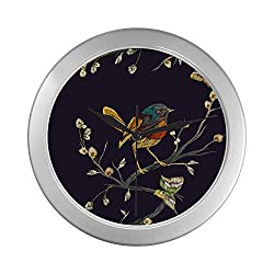 Chawzie Kid Wall Clock Lightweight Flower Birds Print Early Spring Clock Wall Round 9.65 Inch Silver Quartz Frame Decor for Office/School/Kitchen/Living Room/Bedroom