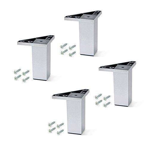 EMUCA - Pies para Muebles de plástico Gris Metalizado, Patas para Mueble, Lote de 4 pies de Altura 120mm con Tornillos de Montaje