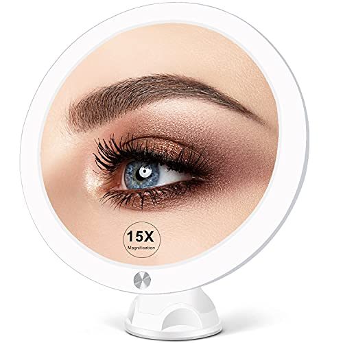 15X Lighted Magnifying Mirror with Lights - Large 8 Inch Makeup...