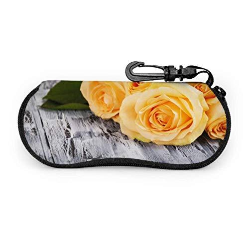 Bright Yellow Rose Banquet Lightweight Sunglasses Case Woman Eyeglass Case Light Portable Neoprene Zipper Soft Case Girl Sunglass Case