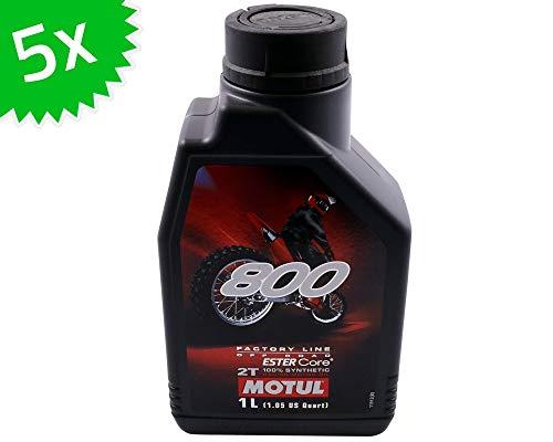 5 X 1 litro Olio Motore MOTUL 2T 800 Factory Line off Road 5 Litri 2 Tempi Oil OEL