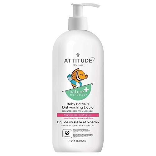 ATTITUDE Baby Dish Soap, Non-toxic, Plant-based, White, Pear, Fragrance-Free, 33.8 Fl Oz