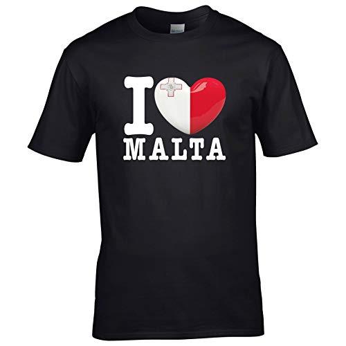 FanShirts4u Kinder T-Shirt - I Love Malta - EM WM Trikot Liebe Herz Heart (7/8 Jahre 122-128 cm, I Love Malta - Schwarz)