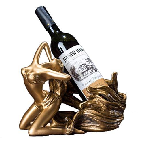 Botelleros Botellero vino Titular de la botella de vino de resina de belleza Modelo estante del vino whisky encimera Estante de almacenamiento atractivo del vino escultura práctica base for el hogar a