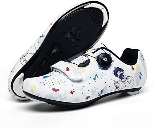 KUXUAN Zapatillas de Ciclismo de Carretera para Hombre Zapatillas de Bicicleta de Montaña con Tacos SPD Zapatillas de Ciclismo Interior MTB Spin,White-40EU