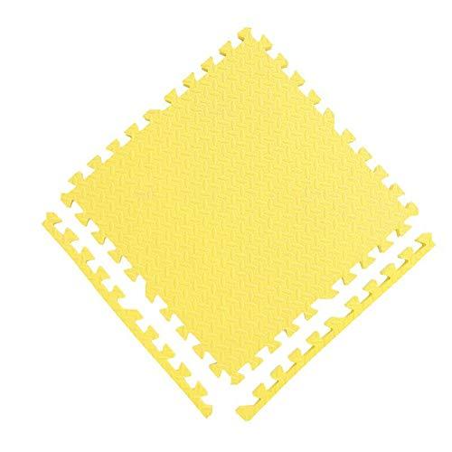 AWSAD Dalles en Mousse avec Bordure Antidérapant Facile À Nettoyer École Chambre Tapis De Bébé, 9 Couleurs, 30x30x1.2cm (Color : Yellow, Size : 4-Tiles)