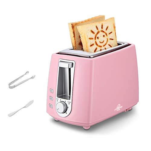 CXD 2-Slice Tostadora Versión Precioso Smiley tostadoras patrón de 6 Patrones de Mantener Caliente Inteligente Tostadas de Pan, Inglés Magdalenas, rosquillas (Rosa)