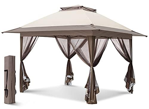 EAGLE PEAK 13' x 13' Pop-Up Gazebo Tent Instant w/Mosquito Netting, Outdoor Gazebo Canopy Easy Set-up Folding Shelter (Beige/Brown)