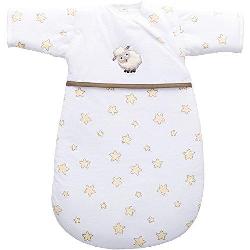 Erstlingsschlafsack mit ABNEHMBAREN ÄRMELN (0-3 Monate) aus 100% BAUMWOLL-JERSEY Schlafsack Baby (SCHÄFCHEN)
