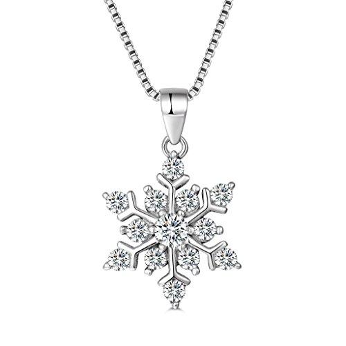 MASOP Damen Halskette Schneeflocke Anhänger 925 Sterling Silber mit Weiß Zirkonia Swarovski Elements mit 40+5CM Kette Geschenk für Weinachten