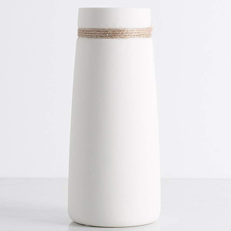 Hh001 Vase en céramique Vase en céramique Vase Salon ArrangeHommest de Fleurs littéraire Corde de Chanvre Vase hydroponique étoilé Vase à Fleurs ( Couleur   blanc , Taille   219CM )