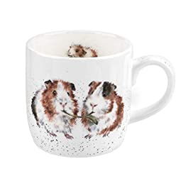 Portmeirion Home & Gifts Wrendale Lettuce be Friends (Guinea Pig) Single Mug, Bone China, Multi-Colour, 11 x 6.5 x 8.3 cm