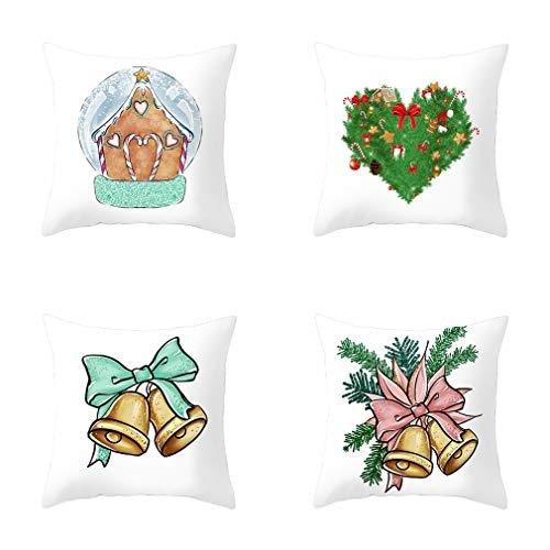 Nunubee - Juego De 4 Fundas De Almohada De Decoración De Campana De Navidad, Sofá Y Funda De Almohada De Decoración De Oficina (Color De La Imagen, 45X45Cm)