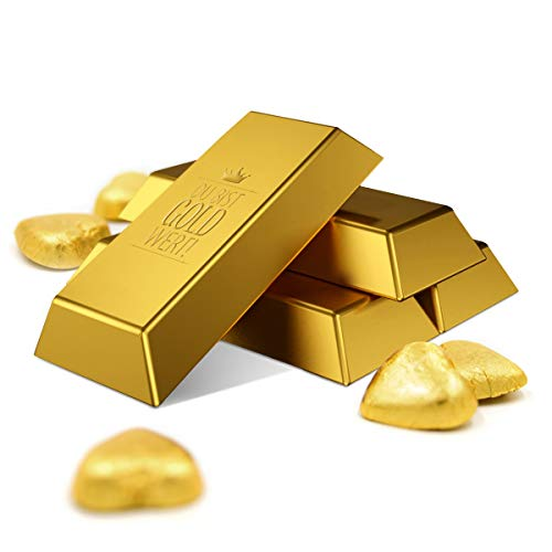 """Gebensfreude: 10er Set – Lindt Goldbarren mit Botschaft """"Du bist Gold wert"""" & individualisierbarer Banderole I Schokoladen-Präsent enthält 5 zartschmelzenden Lindt-Goldherzen"""