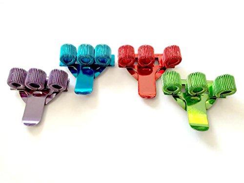 Farbige Dreifach-Stifthalter mit Clipbefestigung, ideal für Krankenschwestern und Ärzte, Packung mit 4 Stück in 1x rot, 1x blau, 1x grün und 1x lila