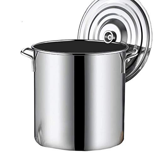 Stock Pentola, 2011 Pentola profonda in acciaio inox per catering per la casa commerciale, con coperchio, per fornello a induzione con stufa a gas (10-90L) (Dimensione: 45L) LOLDF1 ( Size : 65L )