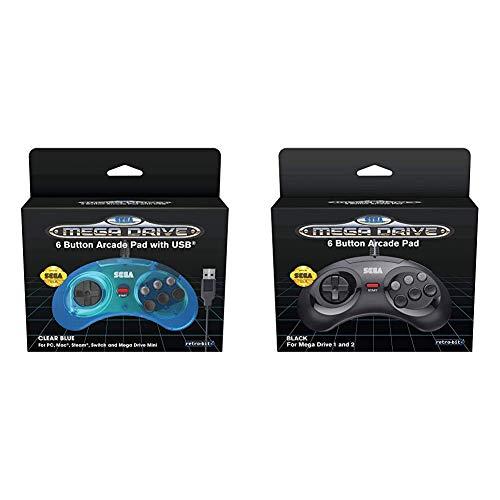 Retro-Bit Official SEGA Mega Drive USB 6-Button Controller - Clear Blue [ ] & Official SEGA Mega Drive Controller 6-Button Arcade Pad for Sega Mega Drive/Genesis - Original Port - Black