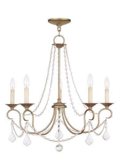 Livex Lighting 6515-73 Pennington 5 Light Chandelier, Hand Painted Antique Silver Leaf