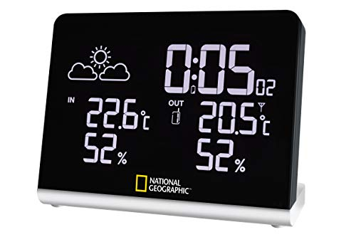 National Geographic Multi Colour Funkwetterstation mit True Black LCD-Display, 256-Farben, Innen- / Außentemperatur und Luftfeuchtigkeit und graphischem 12-Std. Wettertrend, schwarz