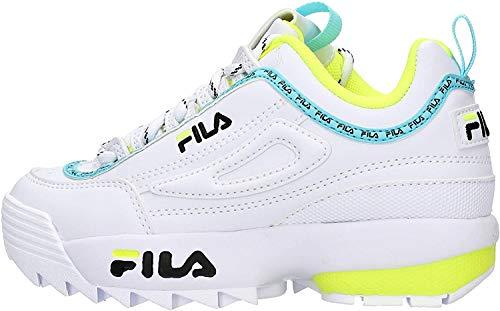 FILA Disruptor Logo Kinder Jungen,Mädchen,Sneaker-Low,Chunky-Sneaker,Bulky-Sneaker,Einstiegshilfe,gepolsterte Decksohle,White/Black/NEON Lime,30 EU