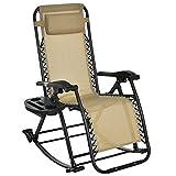 Outsunny Fauteuil à Bascule Rocking Chair Pliable Chaise Longue zéro gravité 2 en 1 Plateau Porte gobelet tétière Acier textilène Sable