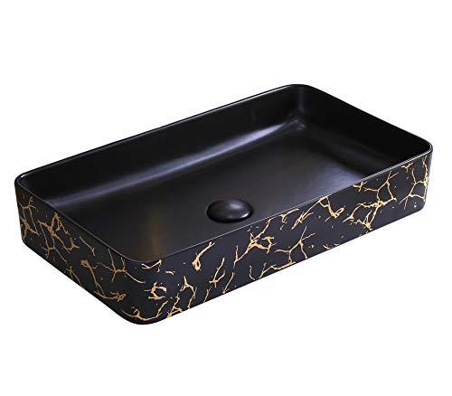 InArt Lavabo Sobre Encimera de Baño Lavabo Porcelana Rectángulo de cerámica para baño Lavabo de Cerámica, Fregadero de sobre Encimera 61 x 33.5 x 11 cm (Acabado satinado de color negro dorado)