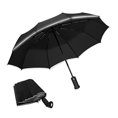 YUECHAO Regenschirm Taschenschirm mit LED-Licht und 10 Rippen Auf-Zu-Automatik Sturmfest Windfest 140 km/h Kompakt Leicht Stabil Winddicht 210T Teflon Schirm für Reisen Business, Schwarz