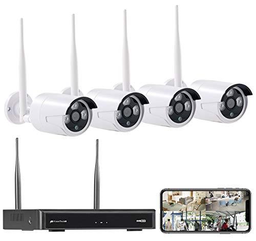 VisorTech Überwachung System: Funk-Überwachungssystem, HDD-Rekorder & 4 IP-Kameras, Plug & Play, App (Überwachungskamera Set WLAN)