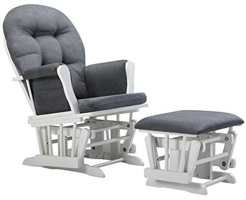 Angel Line Windsor Glider and Ottoman Cushion, White/Dark Gray