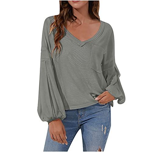 Wave166 Camiseta de manga larga para mujer, monocolor, elegante, manga larga, cuello en V, camisa básica, túnica larga, con bolsillos, patchwork, sudadera para mujer, gris, L